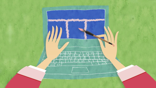 An illustration of a hand up against a laptop holding a paint brush