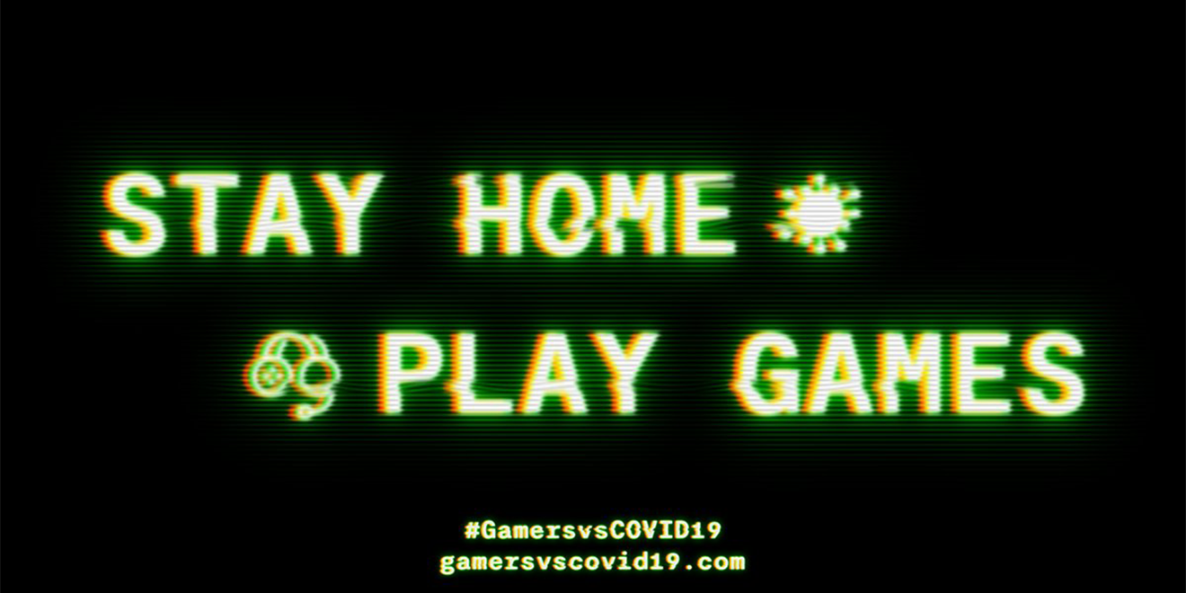 "the words ""stay home play games"" on a video game-like screen"