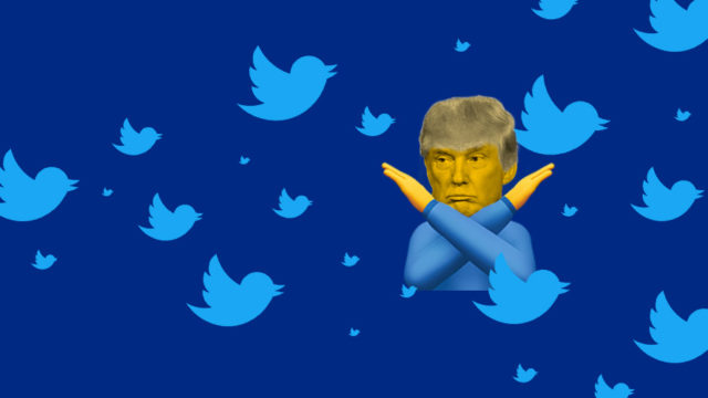 donald trump making a no gesture among twitter birds