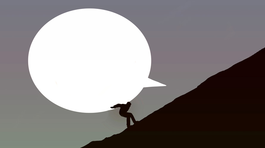 Illustration of a person trying to move a large thought bubble up a hill