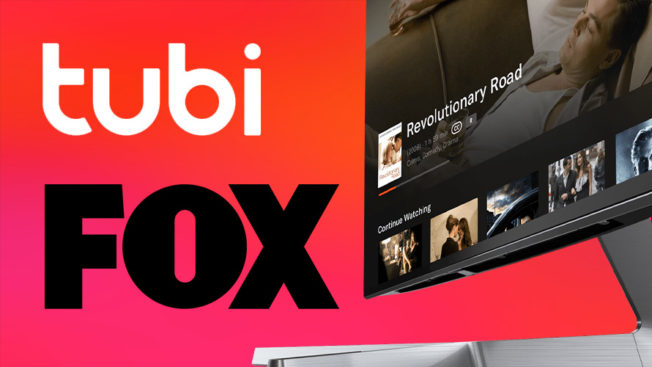 The Tubi and Fox logos next to a TV screen