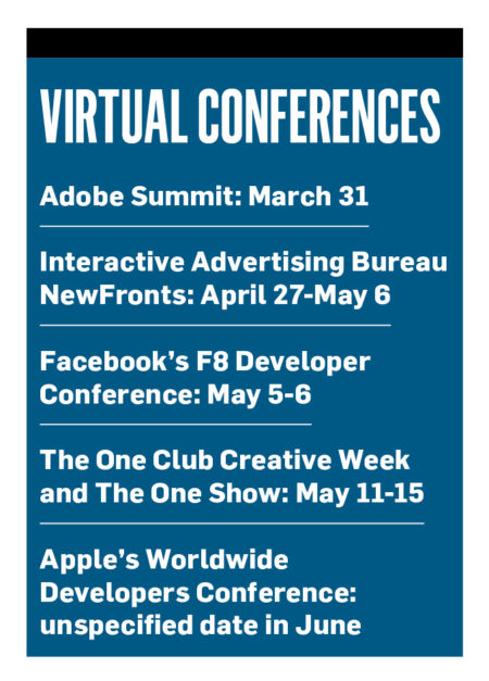 "A sidebar titled ""Virtual Conferences"""