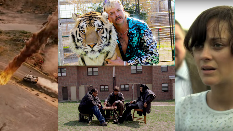 Stills from Netflix's Tiger King, Contagion and HBO's The Wire