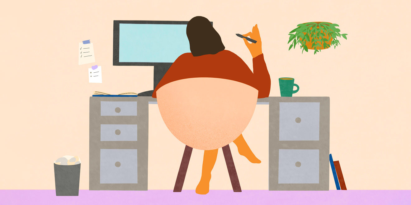 An illustration of a person sitting at a desk with a pen in their hand