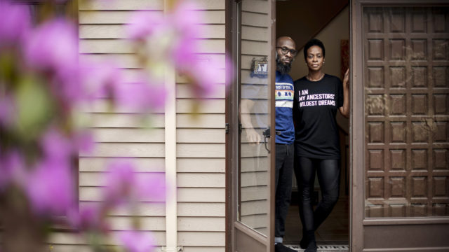 Monique Nelson and her husband at home in New Jersey