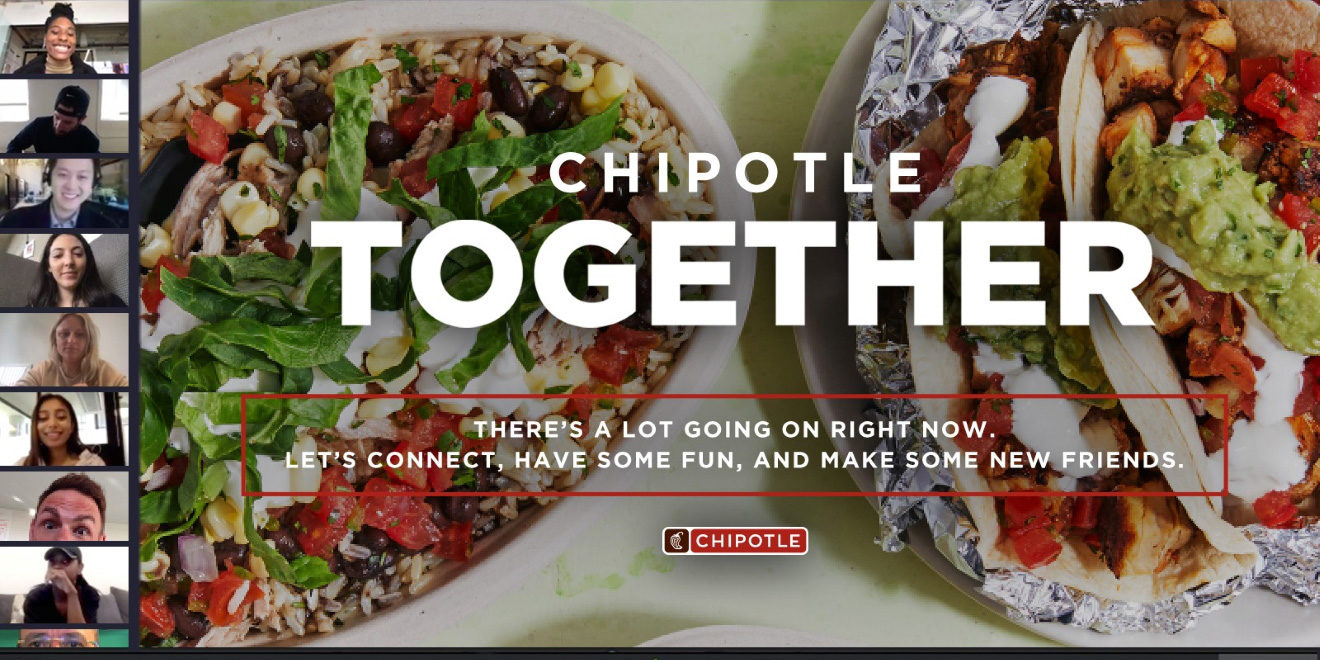 Two burritos with text that says, 'Chipotle Together'