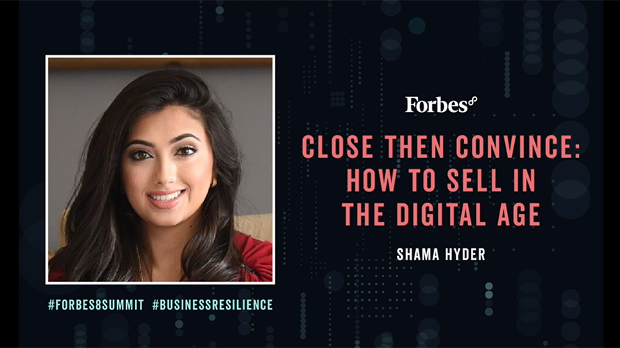 Photo of entrepreneur Shama Hyder in a Forbes summit ad