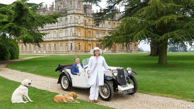 Lord and Lady Carnarvon outside of Highclere Castle