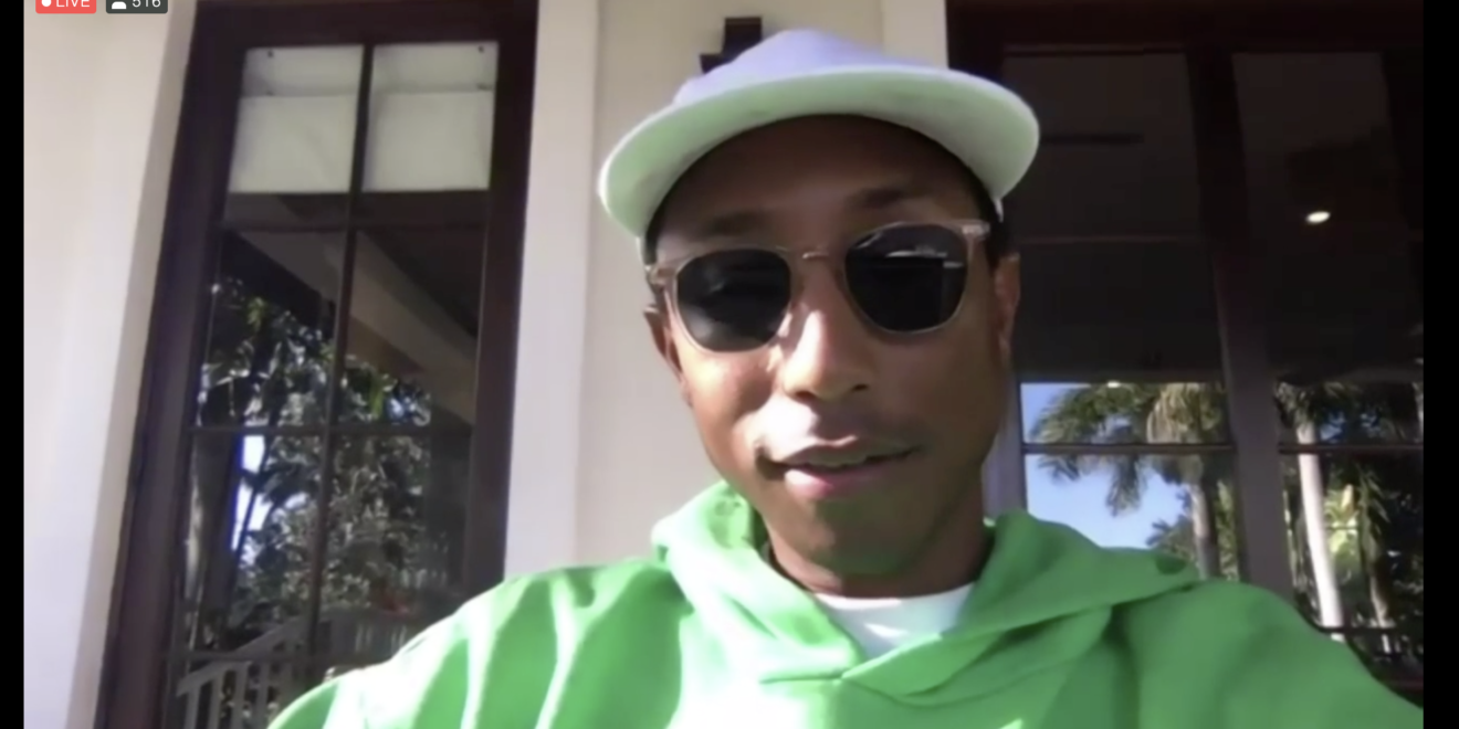 Music artist Pharrell Williams appears on a live Zoom call while sitting outside his home