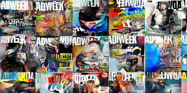 Covers of Adweek generated by AI