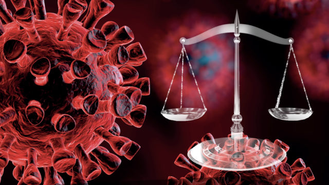an image of a virus next to scales of justice