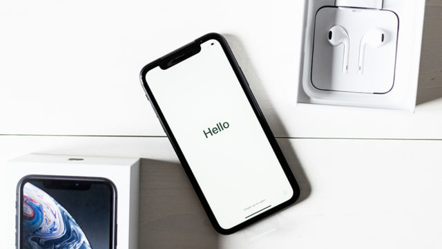 iPhone box, iPhone and AirPods