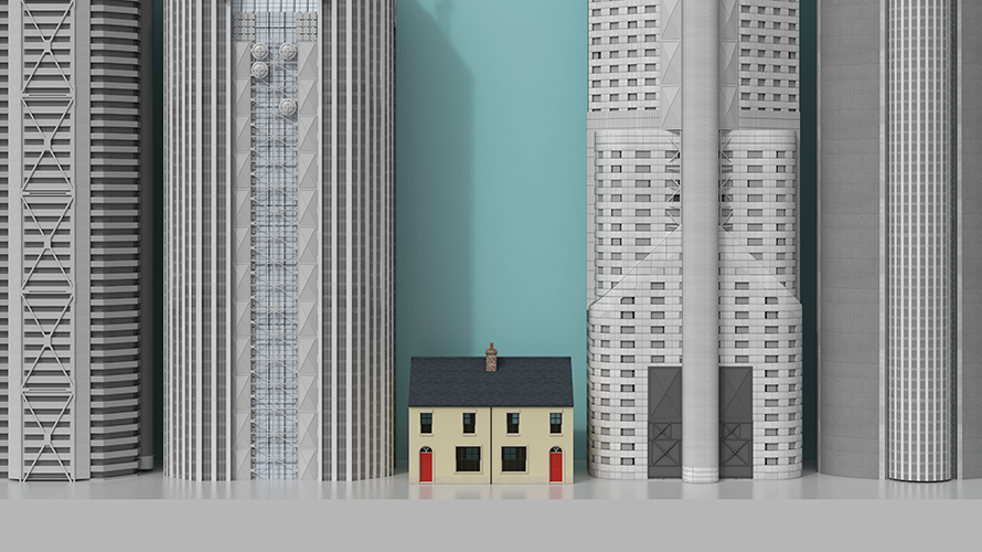 a small house sandwiched between skyscrapers