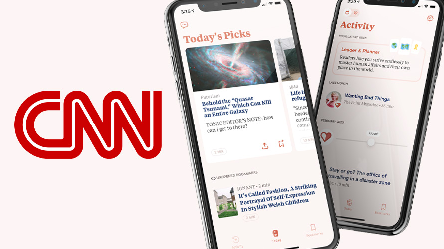 The CNN logo next to a smartphone open with the Tonic app