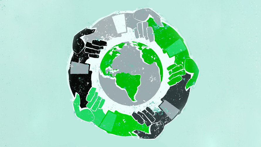 green black and grey hands holding hands surrounding a grey and green earth