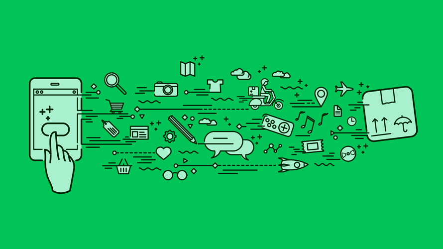 Green background and an illustration of a smartphone with apps coming out of it