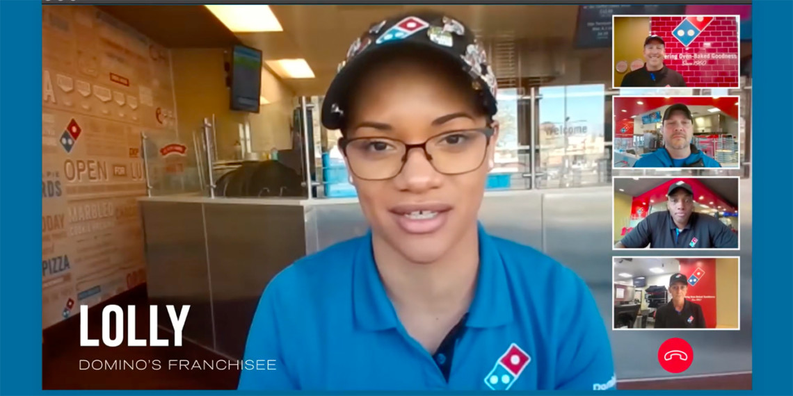 Screenshot from a Domino's Zoom ad
