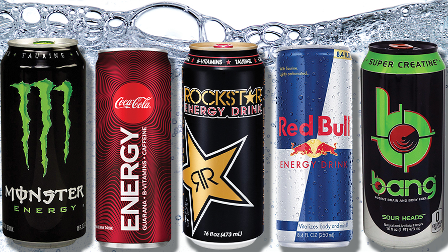 cans of monster, coca-cola energy, rockstar, red bull and bang energy drinks