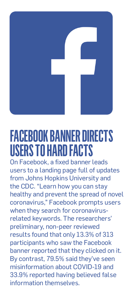 Sidebar with the title, 'Facebook Banner Directs Users to Hard Facts'