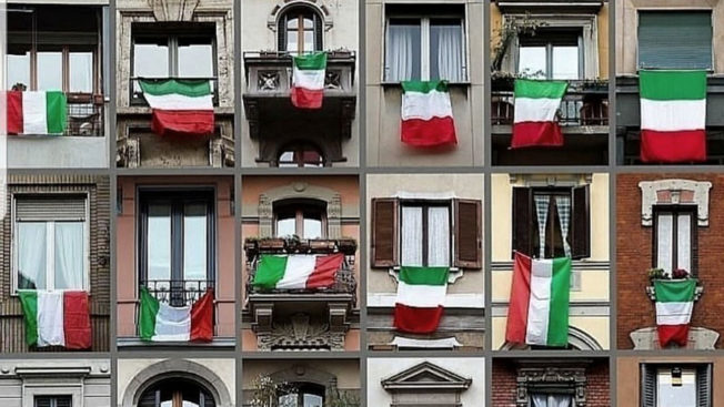 italian flags hanging from balconies
