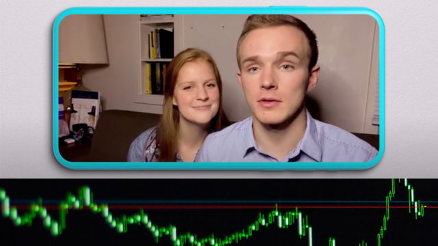 two people and a stock market line