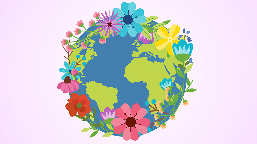 the earth with flowers growing out of it