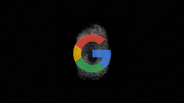 the google logo with a thumbprint on it