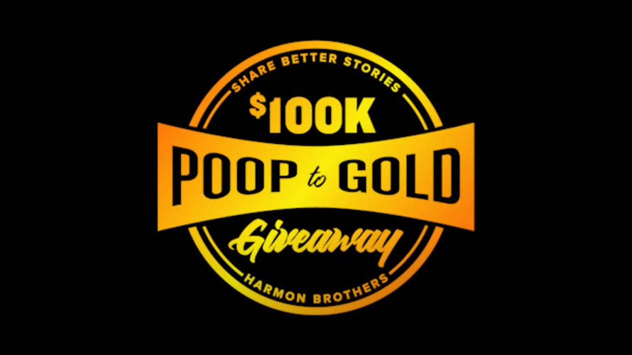 a black background with gold works that says $100k poop to gold giveaway
