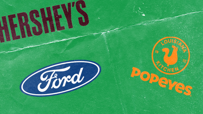 popeyes, hershey's and ford logos