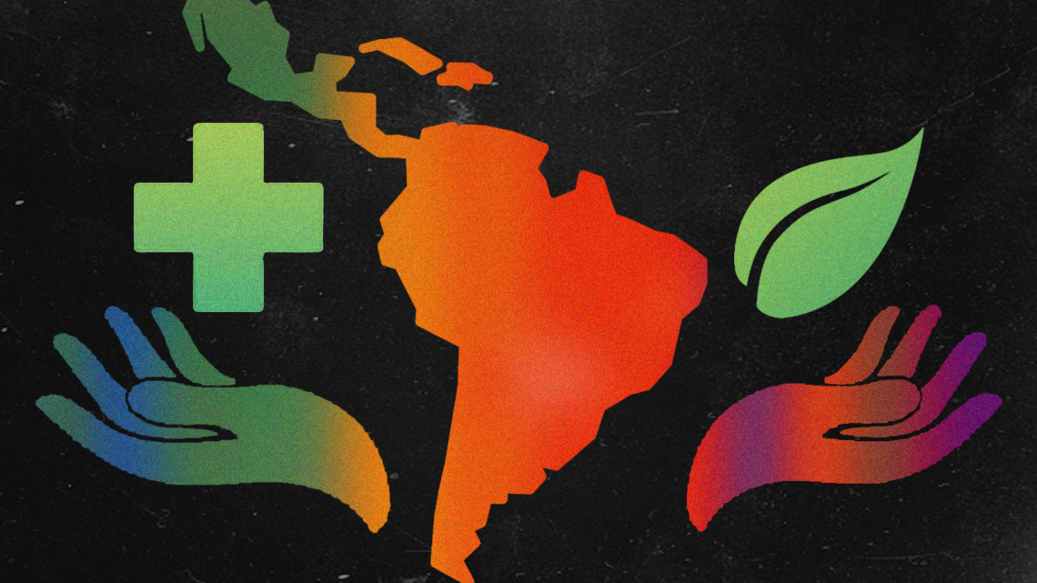 Illustration of the health symbol, leaf, hands and South America