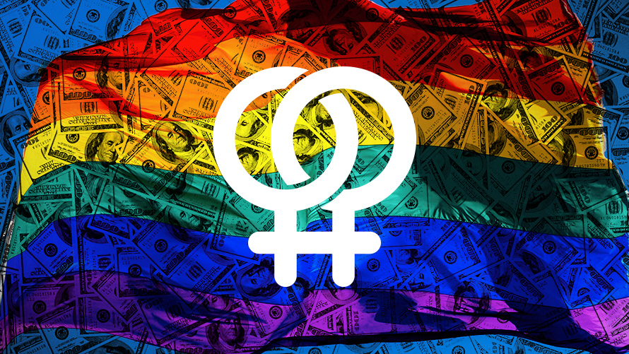 Two LGBTQ symbols in front of a rainbow flag of money