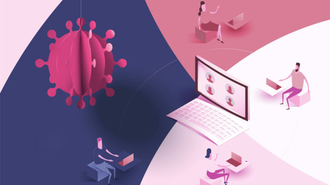 virus particles floating around by an open laptop