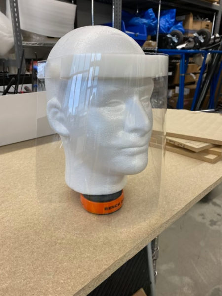 A finished shield on a mannequin head