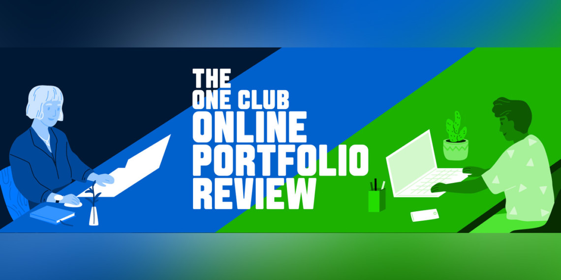 An illustration of two people working remotely and text that says, 'The One Club Online Portfolio Review'