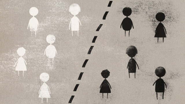 illustration of little black and white figures separated by a dotted black line