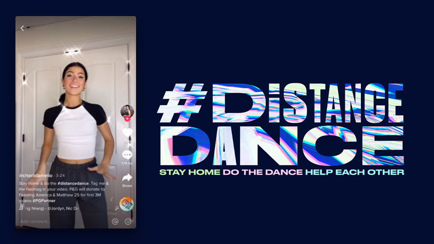 A screenshot of Charli D'Amelio's TikTok video and the #DistanceDance logo