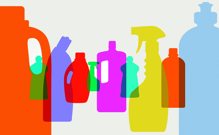 Illustration of different cleaning products