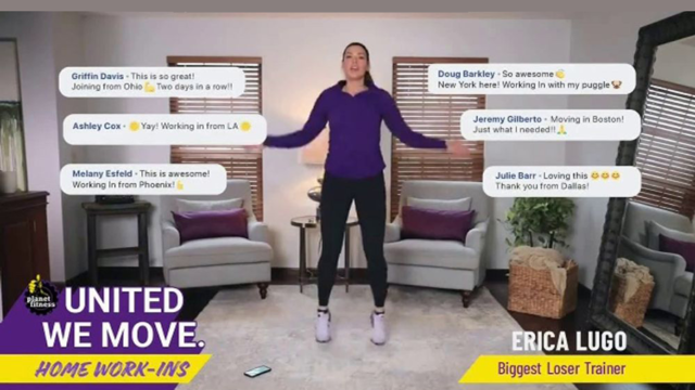 Screenshot of a woman with her arms raised above her hips with chat bubbles next to her and the Planet Fitness logo