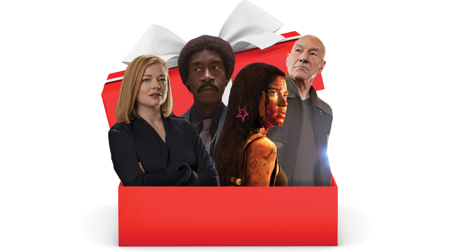 four people popping out of a present box