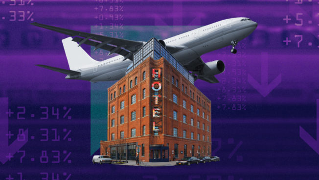 an airplane and a hotel