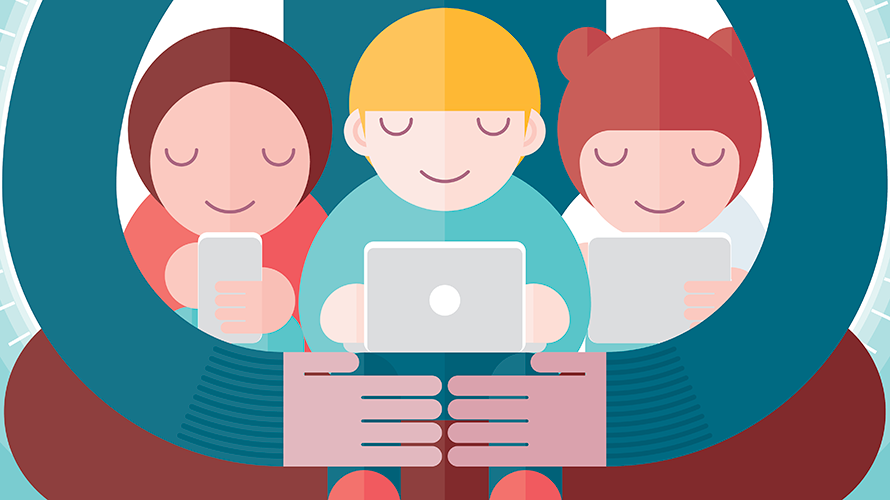 Illustration of three kids on electronic devices with someone bigger hugging them