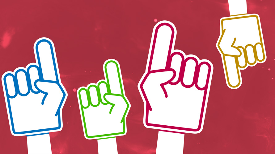 Four foam fingers, three pointing up and one pointing down