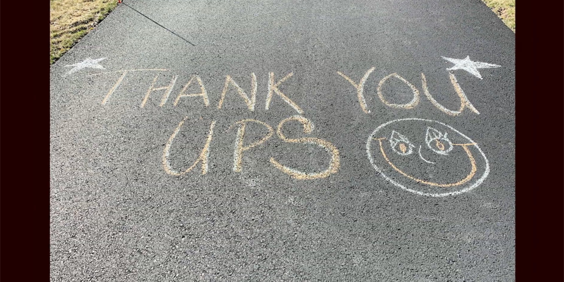 thank you UPS written on a road