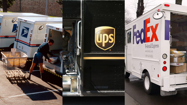 usps, ups and fedex delivery trucks