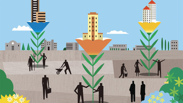 illustration of people planting tall plants that grow into buildings