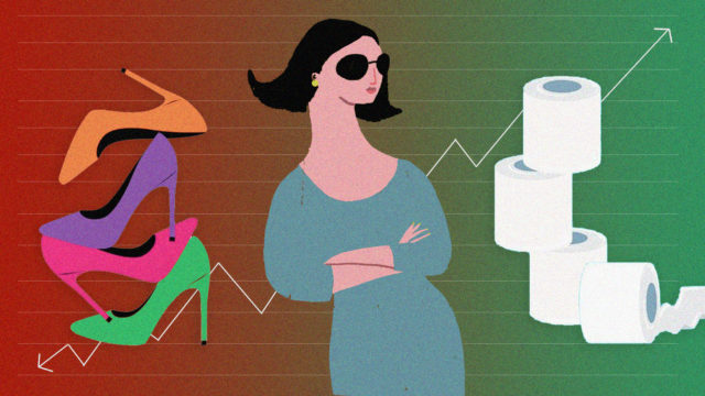 an illustration of woman in sunglasses with a stack of heels on her left and a stack of toilet paper on her right