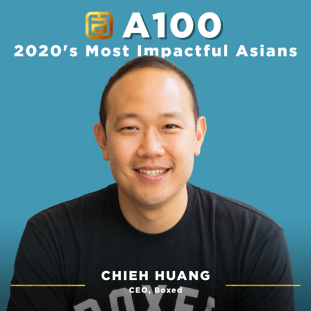 An A100 branded portrait of Chieh Huang