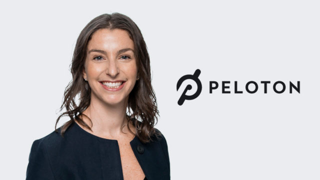 Photo of Carolyn Tisch Blodgett next to the Peloton logo