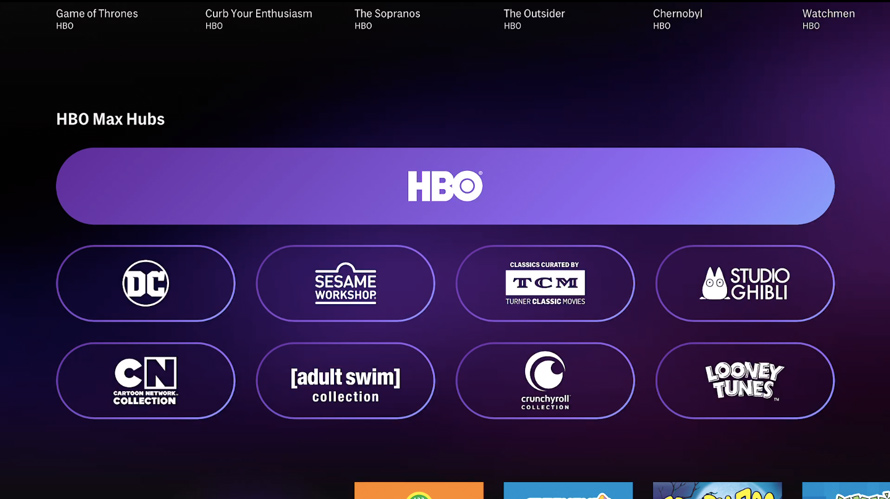 screengrab of hbo max landing page with different areas to watch