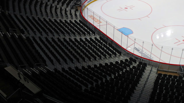 an empty hockey stadium